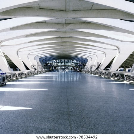 Modern international train and airport terminal - stock photo