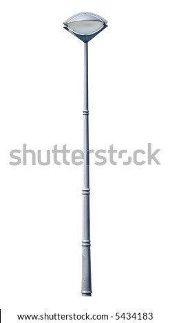 Modern iron street lamp isolated on white background. Clipping path included. - stock photo