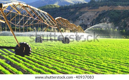 Modern Irrigation System Watering Farm Field Stock Photo 66488236 ...