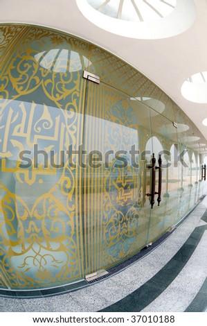 Modern Islamic door design at Mosque Crystal, Terengganu, Malaysia. - stock photo