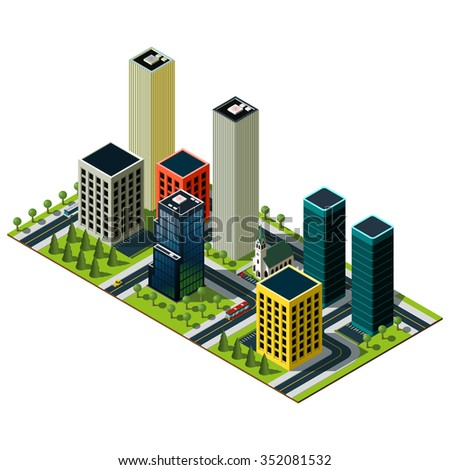 Modern isometric city map. Set of skyscrapers. Crossroads and markings illustration.
