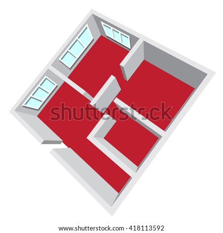Modern isometric cottage interior. Isometric open plan house, apartment architectural project Ground Floor Plan Floorplan House Home Building Architecture Blueprint Layout Detailed plan. raster - stock photo