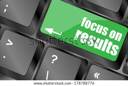 Modern keyboard keys focus on results text. Technology concept - stock photo