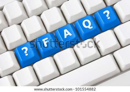 Modern keyboard with text FAQ on buttons and question symbol.Concept - stock photo