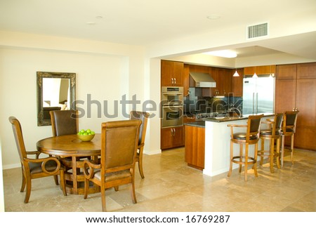 Modern Kitchen and Dining Room - stock photo