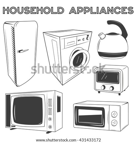 Modern kitchen appliances set. Illustration in retro style design. Design elements and icons: microwave, pot, fridge, tv, washing machine. - stock photo