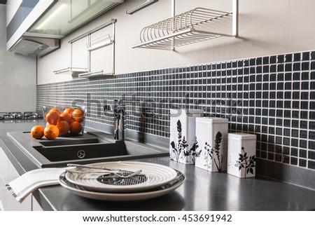 Modern Kitchen Brass Utensils Chef Accessories Hanging Copper Kitchen With White Tiles Wall
