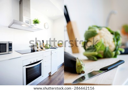 modern kitchen cooking - stock photo