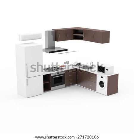 Modern Kitchen 3D Interior isolated on white background. 3D Render - stock photo