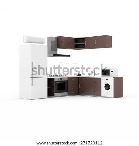 Modern Kitchen 3D Interior isolated on white background. 3D Render
