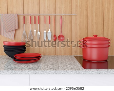 Modern kitchen design. Kitchenware on the marble worktop, utensils in front of wooden wall.