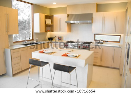 Modern Kitchen Design with Birch Cabinets
