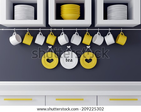 Modern kitchen design with white furniture. Ceramic kitchenware on the shelf in front of gray wall. - stock photo