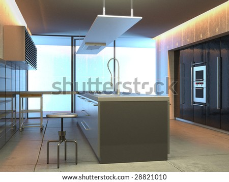 Modern kitchen in a studio setting (3D render) - stock photo