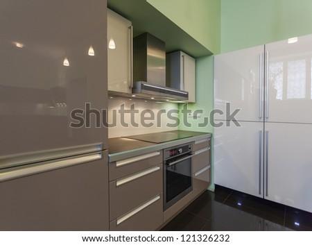 modern kitchen in interior - stock photo