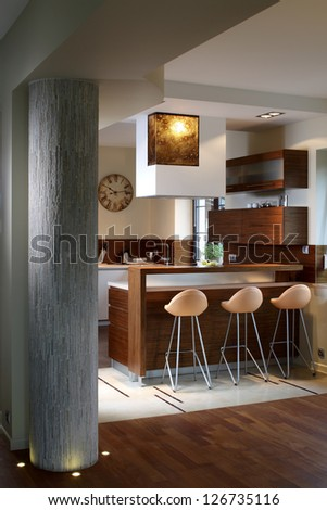 Modern kitchen in luxury apartment