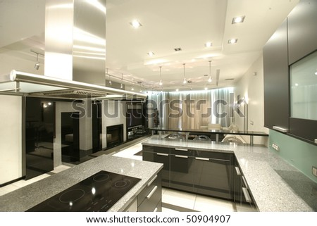 modern kitchen in perspective with a lot of blinds - stock photo