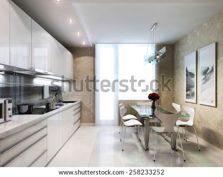 Modern kitchen interior, 3d images - stock photo
