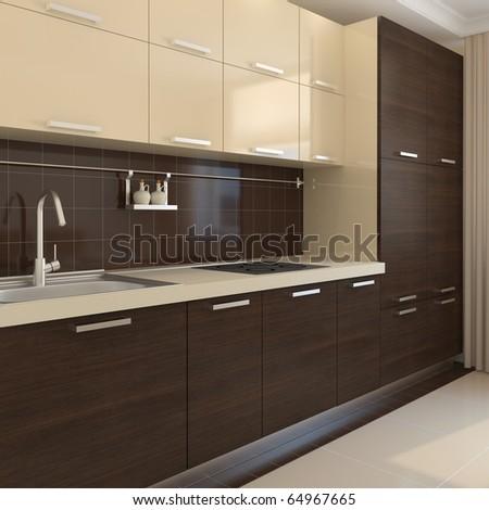 Modern kitchen interior. 3d render. - stock photo