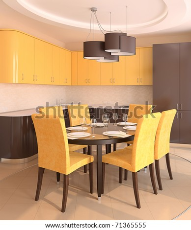 Modern kitchen interior.3d render.