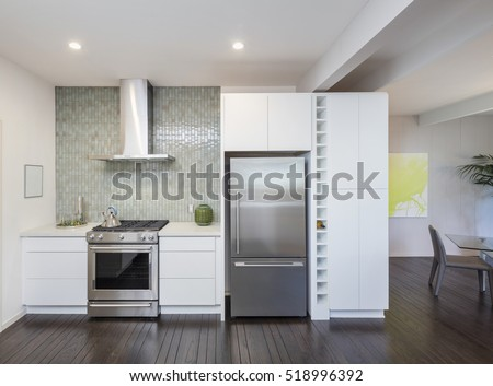 Modern Kitchen Interior. Design Concept With New Stainless Steel Appliances. Part 91