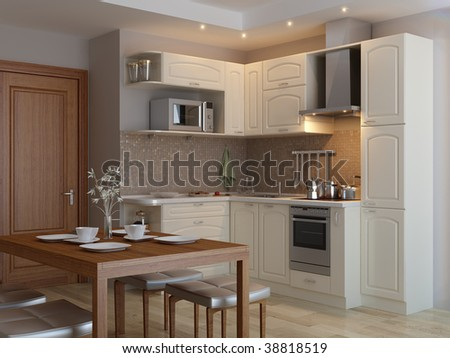 Kitchen New Construction Home Double Deck Stock Photo