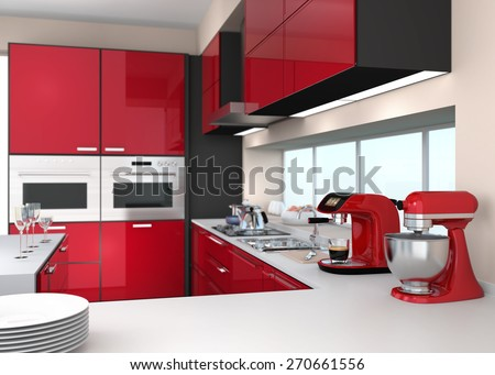 Modern kitchen interior in red color theme. 3D rendering image. - stock photo