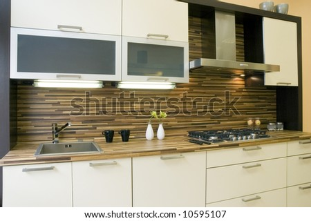 Modern kitchen interior with integrated appliances.