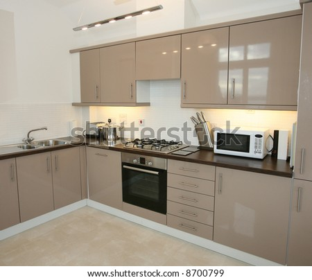Modern Kitchen Interior with integrated appliances - stock photo