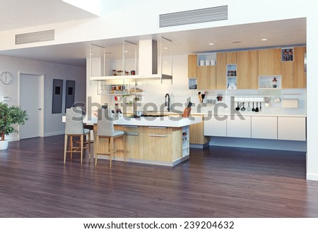 modern kitchen interior with kitchen island (3d illustration)  - stock photo