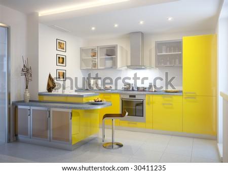 Modern Kitchen. Kitchen Design Idea. - stock photo