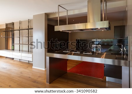 Modern kitchen of apartment, without objects, empty