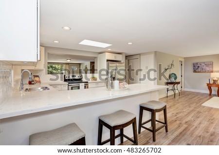 Modern Kitchen Room Interior In White Tones With Hardwood Floor Open Plan Northwest