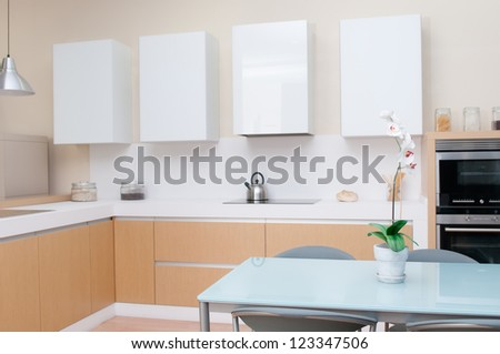 modern kitchen spaces in modern house - stock photo