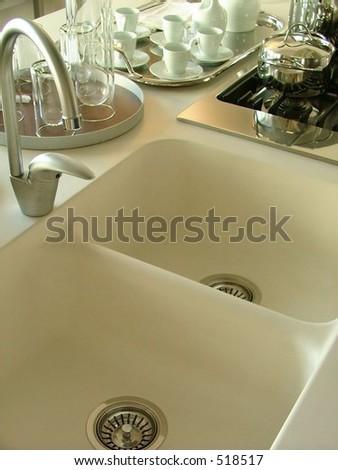 modern kitchen view - stock photo