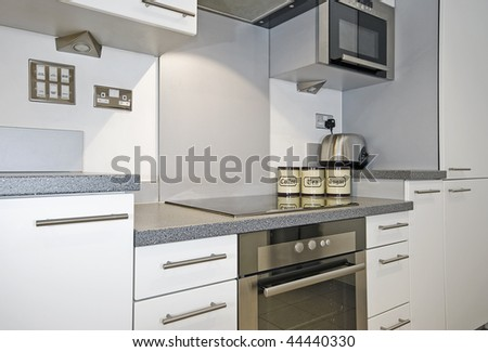 modern kitchen with a detail of cooking area - stock photo