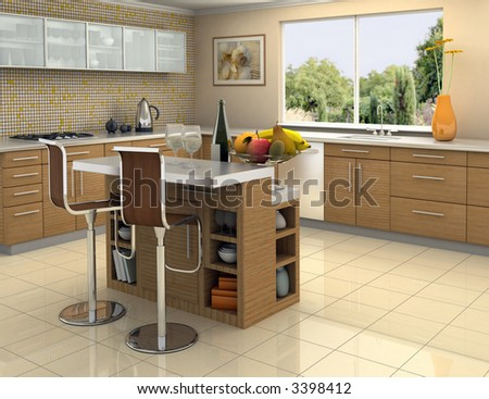 Modern kitchen with an island. The picture on the wall is my own photograph. - stock photo