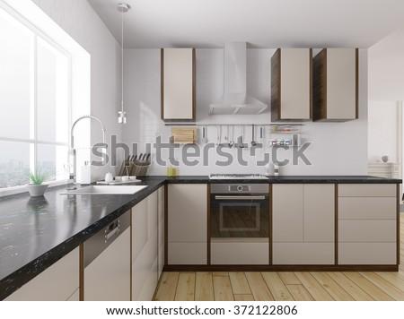 Modern kitchen with black granite counter interior 3d rendering - stock photo