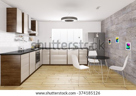 Modern kitchen with black granite counter, window,table and chairs interior 3d rendering - stock photo