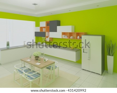 Modern kitchen with light green walls, 3d rendering. - stock photo