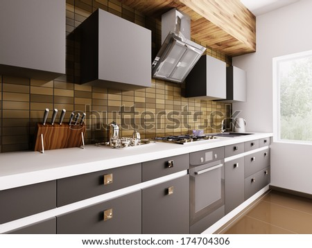 Modern kitchen with sink,gas cooktop and hood interior 3d - stock photo