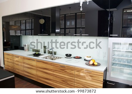modern kitchen with top refrigerator - stock photo