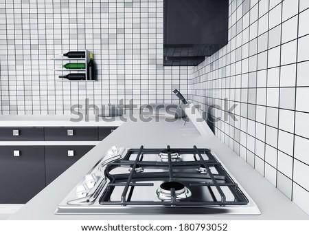 Modern kitchen worktop with gas stove interior 3d render - stock photo