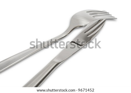 Modern knife and plug on a white background