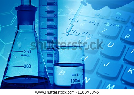 Modern laboratory. Science background. - stock photo