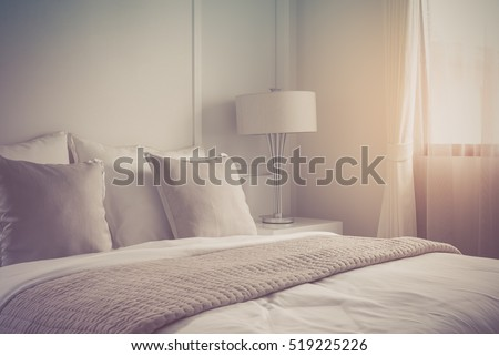 modern lamp on table side with picture frame on wall in bedroom design   vintage process. Bedroom Stock Images  Royalty Free Images   Vectors   Shutterstock