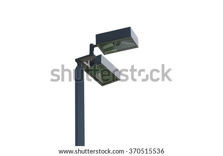 Modern lamp post isolated on white background. Clipping path included - stock photo