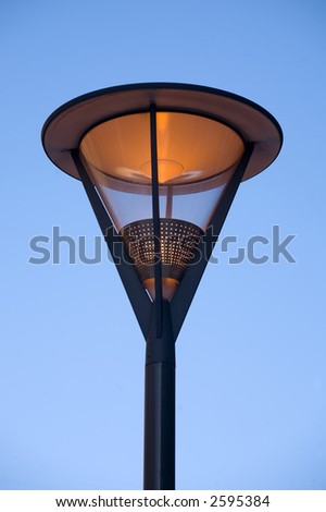 Modern lantern in St.-Petersburg on a background of the blue sky - stock photo