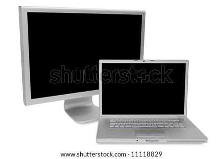 Modern laptop and the display on a white background