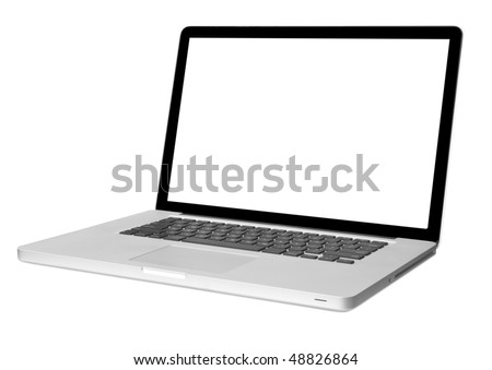 modern laptop computer  isolated on white with shadow - stock photo